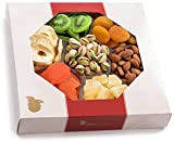 Nut Cravings Large Dried Fruit and Nut Gift Platter - Father's Day Gift Baskets w/7 Different Dried Prime Fruits & Nuts - Sympathy, Condolence, Birthday, Healthy Gift Box For Any Occasion