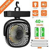 COMLIFE Camping Fan with Led Lantern - Mini Portable Desk Fan with Rechargeable 4400 mAh Battery Powered Fan for Camping, Hiking, Home, Office and Outdoor Activities (Max 40 Hours)