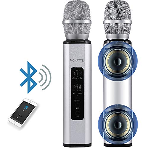 Bluetooth Karaoke Microphone, MCHATTE Portable Handheld Karaoke Machine for Party/Meeting/Speech, Built-in Speaker, Reverb Treble Bass Control, for Android/iOS/PC (Silver)