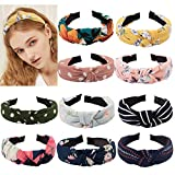 TOBATOBA 10 pcs Bow Knot Headband Floral Twist Turban Headband Cross Knot Wide Headbands Hair Accessories for Women,10 Colors