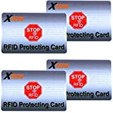 Xtech RFID Protecting Cards (4 pack) Protects from Radio Frequency ID & NFC Card Theft