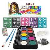 B&E Artt Face Painting Kit for Kids & Adults | Professional Face & Body Paints in 10 Vibrant Colors Safe for Sensitive Skin | 30 Stencils 2 Brushes 2 Sponge Pads 1 Glitter | Bonus Rhinestone Stickers
