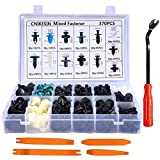 CNIKESIN 370Pcs Universal Car Plastic Rivets Fastener Bumper Clips Box Set with Auto Trim Removal Tool Kit
