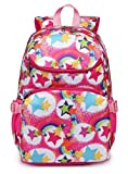Kids Backpacks for Girls Elementary School Bags Kindergarten Girly Bookbags Lightweight Waterproof (Rainbow Hot Pink)