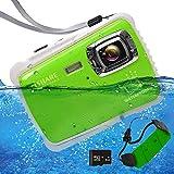 Waterproof Digital Camera Kids, ISHARE Kids Camera 21MP HD Underwater Action Camera Camcorder 2.0' LCD, 8X Digital Zoom, Flash Mic Girls/Boys (Green Float Strap 8G Card) ……