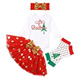 Christmas Newborn Baby Girl Outfits My 1st Christmas Romper + Dot Tutu Shirt +Headband +Leg Warmers 4pcs Clothing Set 6-9 Months Red