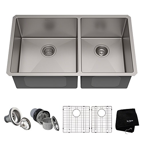 Kraus Standart PRO 33-inch 16 Gauge Undermount 60/40 Double Bowl Stainless Steel Kitchen Sink, KHU103-33