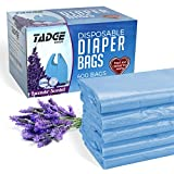 Tadge Goods Baby Disposable Diaper Bags - 100% Biodegradable Diaper Sacks with Lavender Scent & Added Baking Soda to Absorb Odors - 400 Count (Blue)