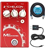 TC Helicon Mic Mechanic 2 Vocal Effects Pedal Bundle with Blucoil Slim 9V 670ma Power Supply AC Adapter, and 20-FT Balanced XLR Cable