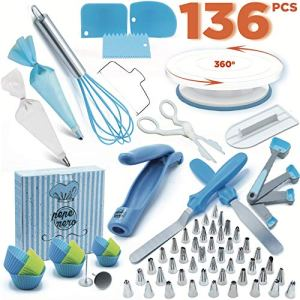 Cake Decorating Kit – Cake Decorating Supplies – Baking Supplies – Cake Turntable – Piping Bags -Russian Piping Tips Set – Piping Bags And Tips – Cupcake Decorating Kit – Cake Decorating Tools & More 51fXNpqwFbL
