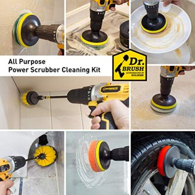Holikme-20Piece-Drill-Brush-Attachments-SetScrub-Pads-Sponge-Power-Scrubber-Brush-with-Extend-Long-Attachment-All-purpose-Clean-for-Grout-Tiles-Sinks-Bathtub-Bathroom-KitchenYellow-black