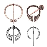 Women Girls Medieval Brooches Pins Set, Vintage Celtic Cloak Pin Shawl Clasp, Large & Small Penannular Viking Brooch Pins, Rose Gold Silver Fashion Jewelry Clothes Accessories Decorations Mother's Day