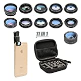11 in 1 Cell Phone Camera Lens Kit Wide Angle Lens & Macro Lens+Fisheye Lens+Telephoto Lens+CPL/Flow/Radial/Star/Soft Filter+Kaleidoscope Lens Compatible for iPhone Samsung Sony and Most of Smartphone