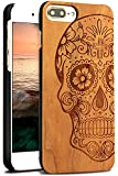 YFWOOD for iPhone 7 Plus Wood Case, Natural Real Wood Engraving Skull Design Shock Absorption Ultra Thin Hybrid Silicone Case for iPhone 7 Plus