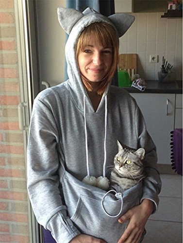 Womens Pet Carrier Shirts Kitten Puppy Holder Animal Pouch Hood Sweatshirt M Light Grey