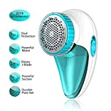 Aerb Fabric Shaver Rechargeable, Lint Remover Electric Fabric Defuzzer with 2-Speeds, Sweater Shaver, Removable Bin & Replaceable Stainless Steel Blade, Dual Protection - Tale White