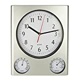 Poolmaster 52602 Indoor and Outdoog Clock, Thermometer, Hygrometer, Silver