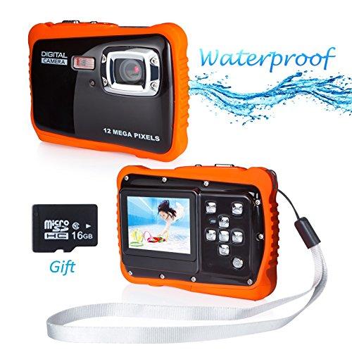 Waterproof Camera for Kids, FLAGPOWER 12MP HD Waterproof Digital Camera for Kids with 16G SD Card, 2.0 Inch LCD Display 4X Digital Zoom 5MP CMOS Sensor Flash