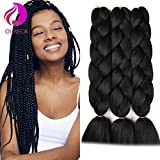 Kanekalon Jumbo Braiding Hair Extensions High Temperature Fiber Crochet Twist Braids With Small Free Gifts 24inch 3pcs/lot(Black)