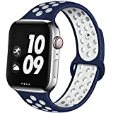 EXCHAR Sport Band Compatible with Apple Watch Band 44mm 42mm Breathable Soft Silicone Replacement Wristband Women and Man for iWatch Series 4 3 2 1 Nike+ All Various Styles M/L Blue-White