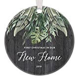 Housewarming Christmas Ornament for Newlyweds 2019 New House Warming Wedding Gift Bride Groom Personalized Ideas Mr & Mrs First Home Keepsake Married Couples Xmas Decorations Holiday Rustic Ceramic 3'