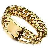 Jxlepe Miami Cuban Link Chain & Bracelet 18K Gold 16mm Big Stainless Steel Curb Necklace for Men (9)