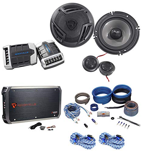Rockville RXH-F5 Amplifier Car Stereo Amp+Wire Kits+Cable+Component Speakers