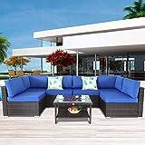 Outside Patio Furniture Brown Rattan Sofa Wicker Sectional Sofa Set Conversation Set Garden Couch Royal Blue Cushion 7pcs