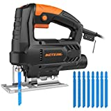 Jigsaw, Meterk 3000 SPM Jig Saw, Variable Speed 1-6 Bevel Angle 0°-45° Pure Copper Motor with 4pcs Wood Saw Blade 4pcs HSS Steel Saw Blades