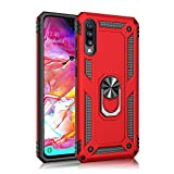 Samsung Galaxy A70 case Hard Shell Military Grade Duty Cover with Holder 360°Rotating Ring Grip Cases for Magnetic Car Mount (Red)