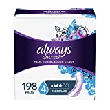 Always Discreet Incontinence Pads for Women, Moderate Absorbency, 198 Count, Regular Length (66 Count, Pack of 3 - 198 Count Total)