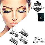 Long Dual Magnetic False Eyelashes, 0.2mm Ultra Thin 3D Reusable Fake Lashes, Full Size Natural Look 1 Pair 4 Pieces-034
