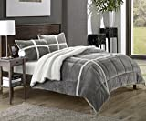 Chic Home Chloe 7-Piece Sherpa Lined Plush Microsuede Comforter Set, King, Silver, Sheet Set and Pillow Shams Included