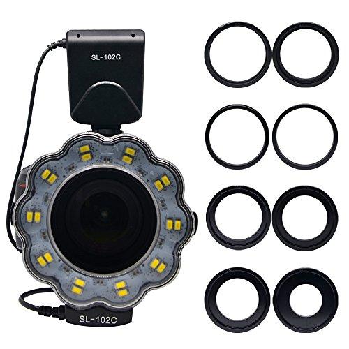 Venidice SL-102 6800k Dimmable Macro LED Ring Flash Light Speedlite With LCD Screen Display 8 Adapter Ring for Canon Nikon Olympus Panasonic Pentax Hot Shoe Digital Camera Lens