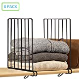 Xabitat Vertical Closet Wood Shelf Divider 2.0 - New and Improved Organizer with Easy Clamping - Powder Coated Steel Wire Wardrobe Separators - Set of 8 - Black