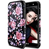 LG Fiesta 2 LTE Phone Case, LG Fiesta LTE Case, LG X Charge Floral Case, OEAGO Hybrid Shockproof Drop Protection Impact Rugged Heavy Duty Dual Layer Case Armor Cover - Rose Flower