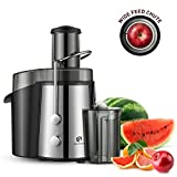 Kitchen Komforts Professional Juicer Juice Extractor, 600 W High Power Centrifugal Juicer with Wide Opening & Two-Speed Setting, Easy to Clean (Sliver)