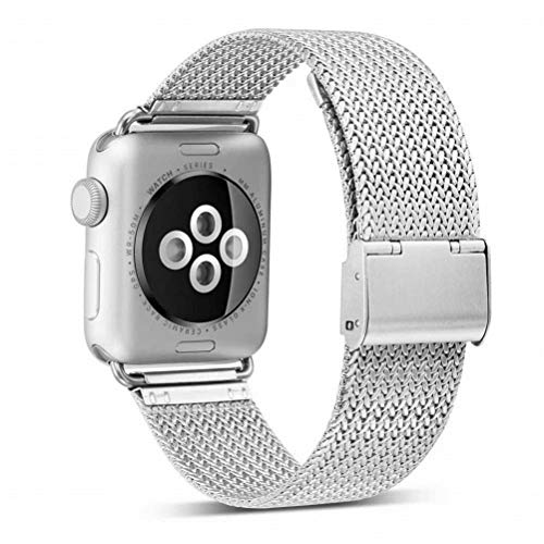 OROBAY Compatible with iWatch Band 38mm 40mm, Stainless Steel Milanese Loop with Magnetic Closure Replacement Band Compatible with Apple Watch Series 4 Series 3 Series 2 Series 1, Silver