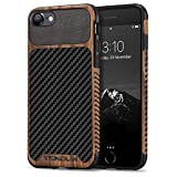 TENDLIN Compatible with iPhone 7 Case/iPhone 8 Case Wood Grain with Carbon Fiber Texture Design Leather Hybrid Slim Case Compatible with iPhone 7 and iPhone 8 (Carbon & Leather & Wood)