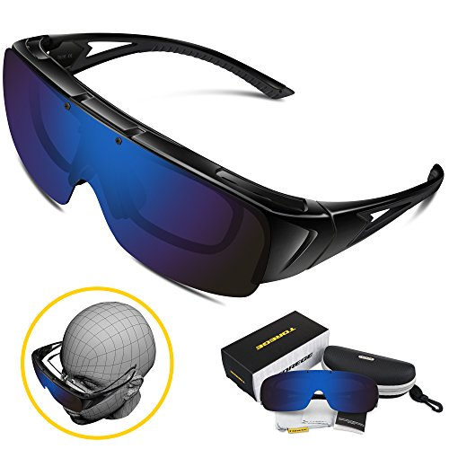 8b41a865ee Torege Flip Up Fit Over Sunglasses with Side Shields Polarized ...