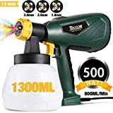 Paint Sprayer, TECCPO 500 Watts 800ml/min HVLP Electric Spray Gun with 1300ml Detachable Container, 3 Copper Nozzles & 3 Spray Patterns, Adjustable Volume Dial for Home Exterior, Limited Time Deal