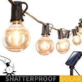Solar Outdoor String Lights-20Ft. Shatterproof G40 Globe Patio Lights with 20 LED Bulbs & 8 Light Modes, Outdoor Hanging Lights for Patio Garden Backyard Bistro Pergola Gazebo Party Decor, Black Wire