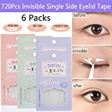 720Pcs/6Packs Natural Invisible Single Eyelid Tape Stickers Medical-use Eyelid Lift Strip, Instant Eye Lift Without Surgery, Perfect for Uneven Mono-Eyelids