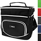 OPUX Insulated Dual Compartment Lunch Bag for Men, Women | Double Deck Reusable Lunch Tote Cooler Bag with Shoulder Strap, Soft Leakproof Liner | Medium Lunch Box for Work, Office (Black)