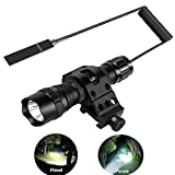 NULIPAM Tactical Flashlight, Zoomable Super Bright 1200Lumens IP65 Waterproof Rail Light for AR15 with Offset Mount, Pressure Switch (No Battery or Charger Included)