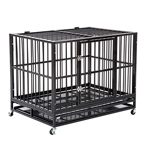 WALCUT 42 Inch Heavy Duty Strong Metal Pet Dog Cage Crate Cannel Playpen w/Wheels (Black- 41.7' L x 29.1' Wx 33.5' H)