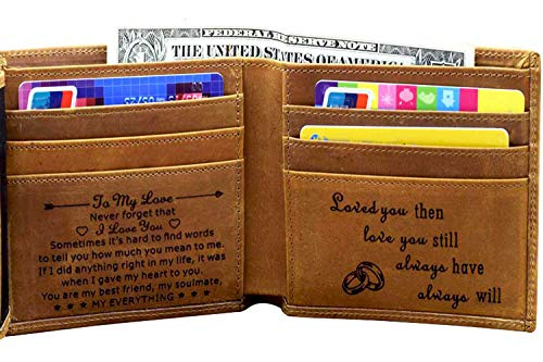Engraved Wallet for Men Custom Personalized Gifts to Dad Husband Boyfriend Son (Tri-fold wallet to my love)
