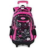 Wheeled Backpack, Fanspack 2019 New Rolling Backpack for Girls School Roller Backpack kids Rolling Bookbag Waterproof Backpack