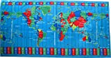 World Time Zones Caribbean Blue Color Velour Beach Towel 30x60 Inches