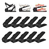 Shoe Slots Organizer, 4-Levels Adjustable Shoe Organizer, Shoe Slots Space Saver for Closet, Better Stability Shoe Organizer with Flatter Base(10-Pack)